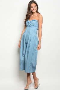 111-2-4-J34005 LIGHT BLUE DENIM JUMPSUIT 3-2-1