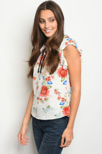 C24-B-5-T2895 IVORY FLORAL TOP 2-2-2