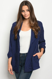 111-5-4-J3032 NAVY WHITE STRIPES BLAZER 3-2-1
