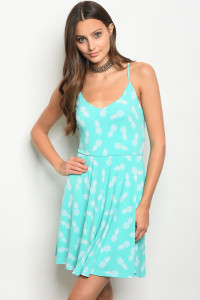 C74-A-2-NA-D16374 MINT PINEAPPLE PRINT DRESS 2-2-2