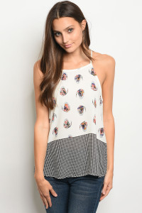C86-B-2-T65011 IVORY WITH BUTTERFLY PRINT TOP 2-2-2