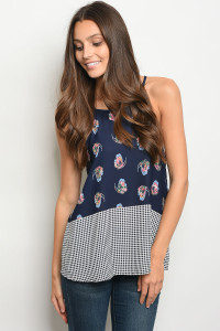 C86-B-4-T65011 NAVY WITH BUTTERFLY PRINT TOP 2-2-2