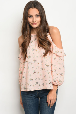 C92-B-5-T68752 PEACH WITH FLOWER PRINT TOP 2-2-2
