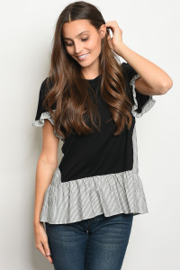 C94-B-3-T8090 BLACK WHITE STRIPES TOP 2-2-2
