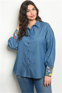123-1-4-T81014X BLUE DENIM FLORAL PLUS SIZE TOP 2-1-1