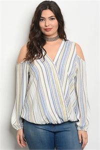 126-3-5-T51392X WHITE YELLOW STRIPES PLUS SIZE TOP 2-2-2