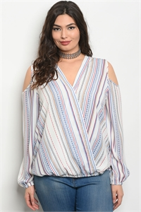 123-1-4-T51392X WHITE RED STRIPES PLUS SIZE TOP 1-1-1