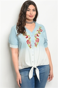123-1-4-T38632X BLUE WITH FLOWERS PLUS SIZE TOP 1-2