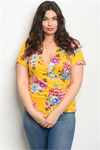 123-1-4-T51442X YELLOW FLORAL PLUS SIZE TOP 2-1-1