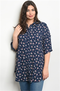 135-1-2-D10064X NAVY FLORAL PLUS SIZE TOP 2-2-2