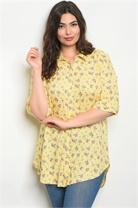 135-1-2-D10064X YELLOW FLORAL PLUS SIZE TOP 2-2-2