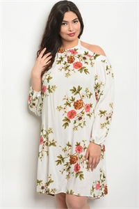 135-1-3-D10032X OFF WHITE FLORAL PLUS SIZE DRESS 2-2-2