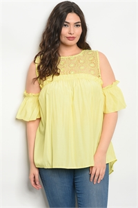 135-1-3-T59164X YELLOW PLUS SIZE TOP 2-2-2