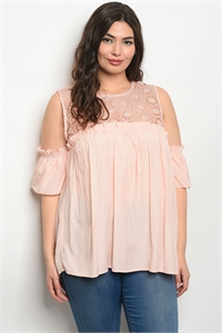 135-1-3-T59164X PEACH PLUS SIZE TOP 2-2-2