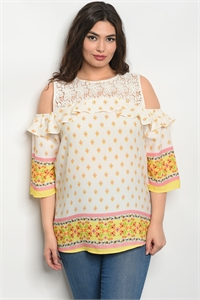129-3-3-T10053X IVORY YELLOW PLUS SIZE TOP 3-2-2
