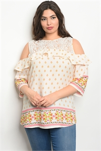 135-4-3-T10053X IVORY CORAL PLUS SIZE TOP 2-2-2