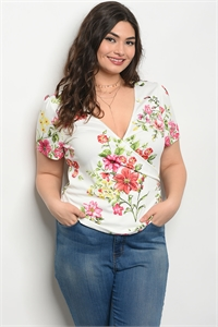 135-3-2-T51450X IVORY FLORAL PLUS SIZE TOP 2-2-2