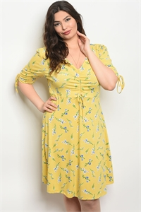 125-2-1-D58452X YELLOW BLUE PLUS SIZE DRESS 2-2-2