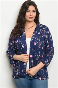 111-1-3-J59149X NAVY FLORAL PLUS SIZE JACKET 2-2-2