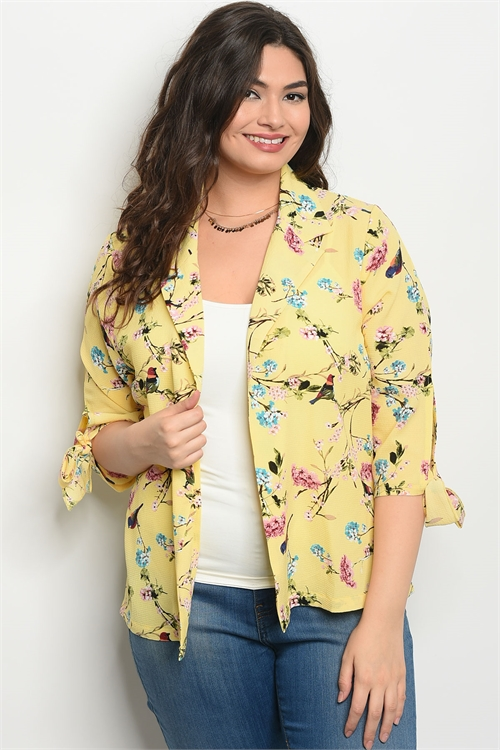 111-1-3-J59161X YELLOW FLORAL PLUS SIZE JACKET 2-2-2