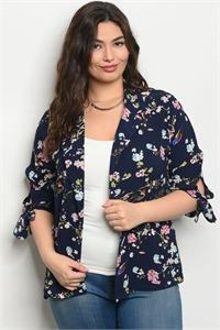 111-1-3-J59161X NAVY FLORAL PLUS SIZE JACKET 2-2-2
