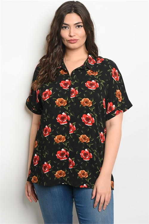 111-2-1-T16860X BLACK WITH ROSES PRINT PLUS SIZE TOP 2-2-2