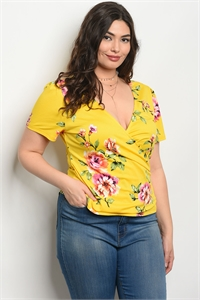111-2-1-T51453X YELLOW FLORAL PLUS SIZE TOP 2-2-2