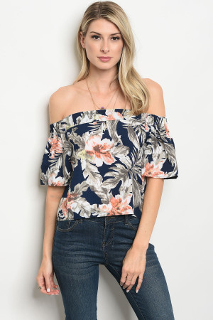 113-3-1-T3159 NAVY CORAL TOP 3-2-1