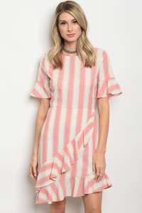 111-4-1-D62712 IVORY PINK STRIPES DRESS 2-2-2