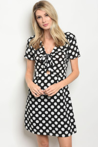 111-4-1-D62732 BLACK WHITE POLKA DOTS DRESS 2-2-2