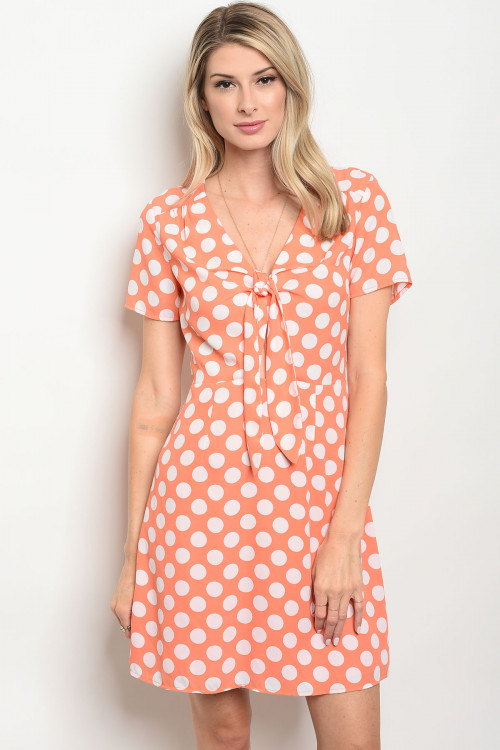 111-2-1-D62732 PEACH WHITE POLKA DOTS DRESS 2-2-2