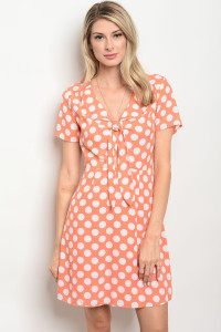 130-3-3-D62732 PEACH WHITE POLKA DOTS DRESS 3-2-2