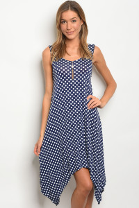 C34-A-1-D8276 NAVY WHITE POLKA DOTS DRESS 2-1-1