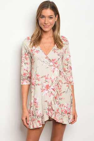 C71-A-1-D7205B TAUPE FLORAL DRESS 1-3-2-3