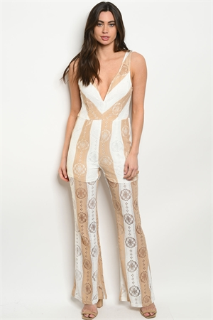 S20-2-1-J16671 IVORY TAUPE STRIPES JUMPSUIT 3-2-2