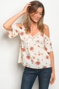 133-1-4-T1770 IVORY FLORAL LACE TOP 3-2-2