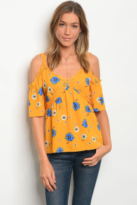 135-1-5-T1770 MUSTARD FLORAL LACE TOP 2-2-2