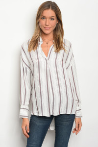 135-1-4-T4136 IVORY BROWN STRIPES TOP 2-2-2
