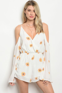 S14-10-3-R71733 OFF WHITE FLORAL OFF SHOULDER ROMPER 4-2-1