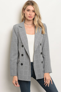 113-4-3-J90575 GRAY BLACK CHECKERED BLAZER 3-2-1