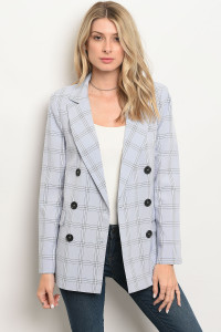 113-4-3-J90575 BLUE BLACK CHECKERED BLAZER 3-2-1
