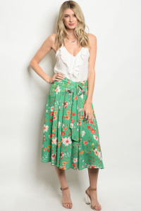 136-1-2-S50609 GREEN FLORAL SKIRT 3-2-1