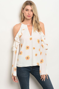 113-4-1-T13423 OFF WHITE FLORAL TOP 3-2-1