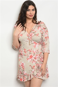 C65-A-1-D7205X TAUPE FLORAL PLUS SIZE DRESS 2-1-2