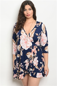 C72-A-6-D7205X NAVY FLORAL PLUS SIZE DRESS 2-2-2