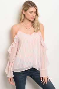 S14-2-3-T14430 PINK WHITE STRIPES TOP 3-2-1