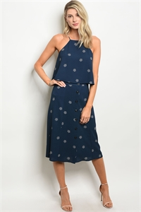 S14-2-2-SET13347 NAVY WHITE TOP & SKIRT SET 3-2-1