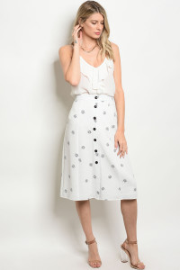123-1-2-S50569 OFF WHITE NAVY SKIRT 3-2-1