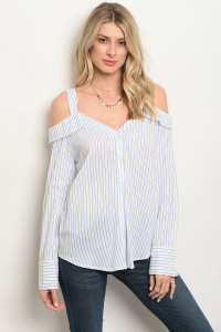 S13-2-2-T13258 WHITE BLUE STRIPES TOP 3-2-1