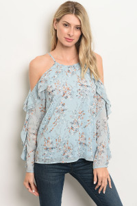 S13-3-4-T13315 BLUE FLORAL OFF SHOULDER TOP 3-2-1